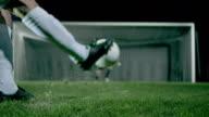 Penalty kick with goalkeeper jump parade