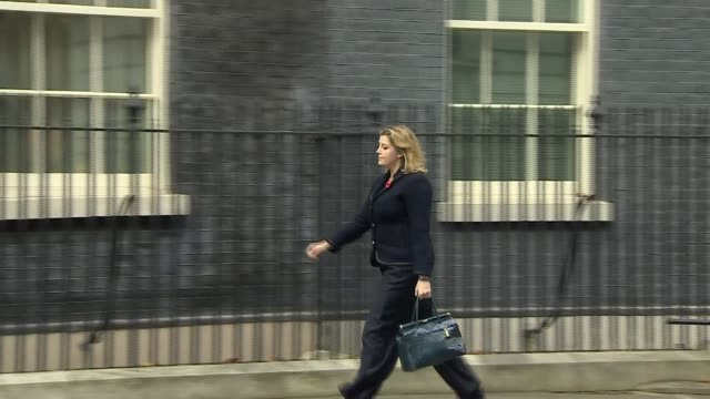 Penny Mourdaunt arrival and departure at Downing Street ENGLAND London Downing Street EXT Penny Mordaunt MP out of car and into Number 10 / Penny...
