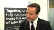 David Cameron interview ENGLAND London INT David Cameron MP interview SOT What pensioners want is security but also personal responsibility in their...
