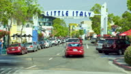 WS ZO T/L People and traffic in Little Italy neighborhood / San Diego, California, USA