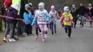 People are seen participating in the City Trail run on 5 March 2017 The run is organized in 12 different cities in Poland yearly