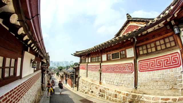 People at Bukchon Hanongmaeul Folk Village that the Famous traditional Place in Seoul City