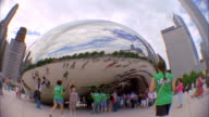 SLO MO, FISH EYE, MS, People at Cloud Gate sculpture, Chicago, Illinois, USA