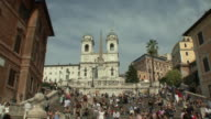 WS TD People at Spanish Steps with Trinita' dei Monti in the background / Rome, Italy