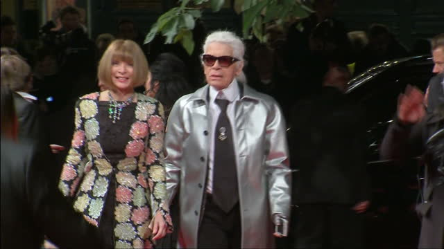 People attend the British Fashion Awards 2015 at the Coliseum Shows exterior shots Karl Lagerfeld Anna Wintour on the red carpet on November 23 2015...