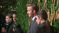 People attend the British Fashion Awards 2015 at the Coliseum Shows exterior shots David Beckham Victoria Beckham posing on the red carpet on...