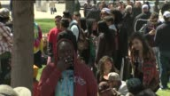 People celebrate 420 smoking weed at Lincoln Park in Denver Colorado on April 20 2015