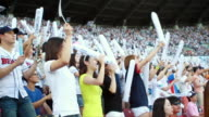 MS People cheering at stadium / Seoul, South Korea