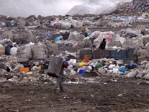 People Collecting and Recycle From Garbage Dump