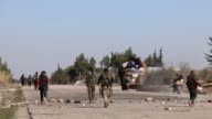 People continue to flee from Daesh controlled AlBab to opposition held territories in AlBab Syria on February 04 2017 Haldun AsSamadi a resident of...