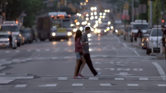 People Crossing 1st Avenue at Night