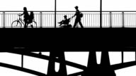 People Crossing a Bridge BW