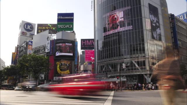 T/L WS People crossing at Shibuya ward, Tokyo, Japan