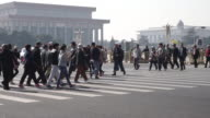 People crossing street, Tiananmen Square