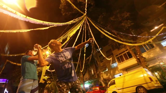 LA LS People decorate a street in Brazilian colors on June 1 2014 in Rio de Janeiro Brazil