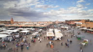 MS  POV T/L People doing shopping in Djemaa el-Fna square / Marrakech, Morocco
