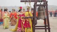 MS TS People dressed in tang dynasty costumes and showing traditional ceremony during Chinese spring festival AUDIO / xi'an, shaanxi, china