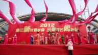 MS People dressed in tang dynasty costumes showing traditional ceremony during chinese spring festival  AUDIO  / xi'an, shaanxi, china