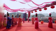 MS PAN People dressed in tang dynasty costumes showing traditional ceremony during chinese spring festival  AUDIO  / xi'an, shaanxi, china
