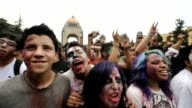 People dressed up as zombies participate in a Zombie Walk at the Monument to the Revolution in Mexico City on November 26 2011 Mexico City Mexico