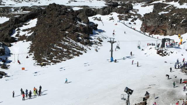 People enjoying skiing