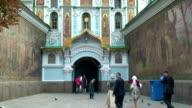 People entering the monastery of Pechersk Lavra Ukraine Kiev shot on August 25th 2011