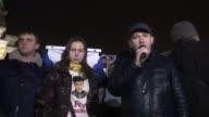 People gather at Independence Square to hold a protest demanding the release of former Ukrainian military pilot Nadezhda Savchenko who is held in...
