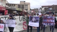 People gather at IsaBeg Ishakovic square in Novi Pazar during a protest against Assad regime forces' and its supporters' attacks on civilians and the...