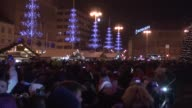 People gather at the Ban Jelacic square to celebrate the arrival of the New Year in Zagreb Croatia on January 01 2017