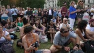 People gather for the commemoration ceremony of the Grenfell Tower fire victims at Parliament Square in London United Kingdom on June 19 2017 The...