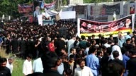 People gather in Islamabad Pakistan on October 11 2016 to commemorate the martyrdom of Prophet Muhammad's grandson Imam Hussein and his accompanies...