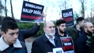 People gather outside of the Syrian Embassy in Brussels to protest against Assad regime forces' and its supporters' attacks on civilians and the...