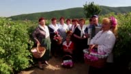 People gather roses in the early morning near the Bulgarian town of Strelcha some 100 kilometers east of the Bulgarian capital Sofia Saturday May...