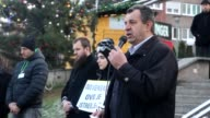 People gather to protest Assad regime forces' and its supporters' attacks on civilians and the humanitarian plight at Alija Izetbegovic square in...