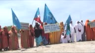 People in Mogadishu Sunday held a demonstration to protest against deadly attacks carried out by Somalia's AlQaedalinked Shebab rebels CLEAN Somalis...