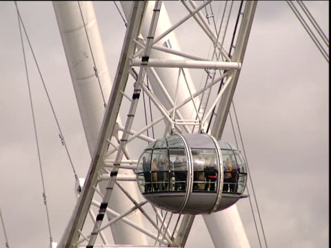 People in pod on London Eye descending out of shot as next pod comes into shot