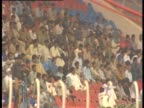 People in stadium watch a Pakistan vs India cricket game