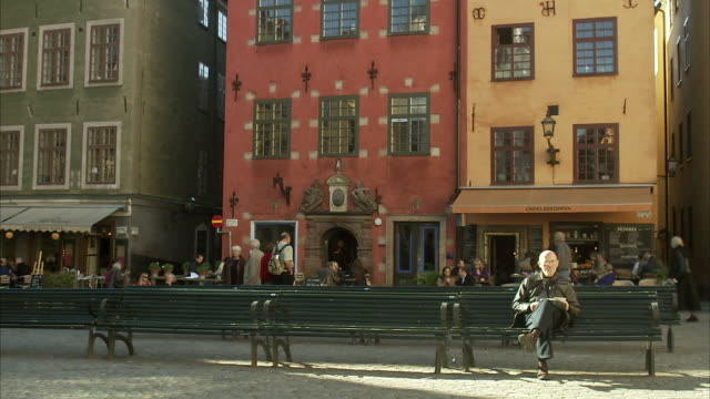 People in the Old Town of Stockholm Sweden.