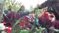 People lay flowers during the commemoration of the 54th anniversary of the death of the poet Nazim Hikmet at the Novodevichye Cemetery in Moscow...