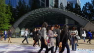 People Moving In Front Of London Canary Wharf Tube Station (UHD)