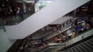 People moving on escalator in shopping mall
