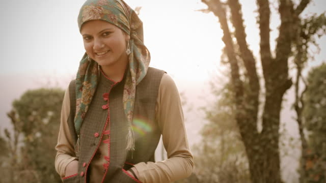 People of Himachal Pradesh: Beautiful young woman and sunshine