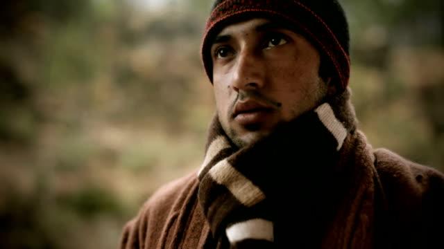 People of Himachal Pradesh: young man drinking tea in winter