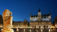 WS, T/L, People on Grand-Place at night, Brussels, Belgium