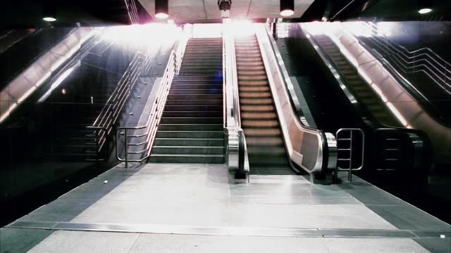T/L, MS, People on metro escalator, Los Angeles, California, USA