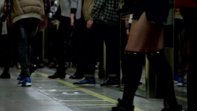 People On Subway Train Platform