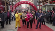 MS People performing at gong and drum in temple fair to celebrate Chinese spring festival AUDIO / xi'an, shaanxi, china