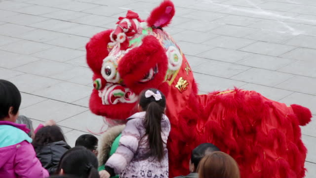 MS TS People performing lion dance during chinese spring festival  AUDIO  / xi'an, shaanxi, china
