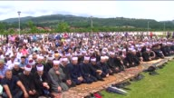 People pray during the funeral of 27 victims of Bosnian War in Zvornik Bosnia and Herzegovina on June 1 2016 27 victims of Bosnian War who were...