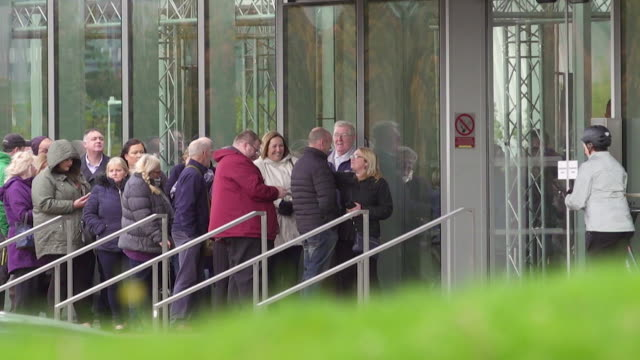 People queue outside a BBC Scotland building where the comedy 'Mrs Brown's Boys' which allegedly has links to tax avoidance is filmed FKAH380J...